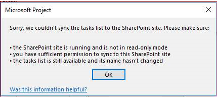 Error Sync the task list to the SharePoint site