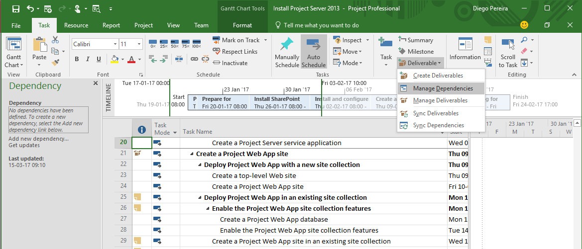Creating Inter-Project Dependencies using Microsoft Project