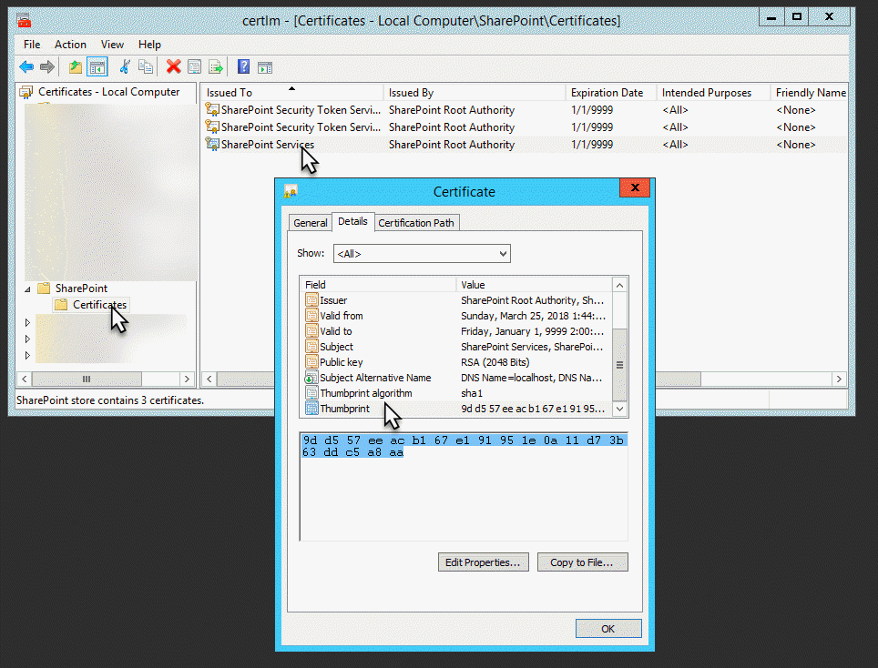 Configuring the SSL certificate to SharePoint 2016